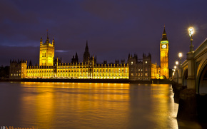 Palace of Westminster, London, city, night