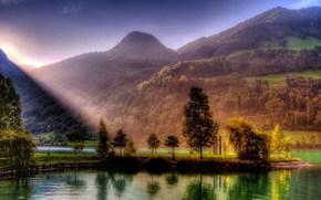 рассвет, закат, солнце, горы, лес, река, деревья, лучи, света, природа, HDR