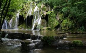 cascata, Francia, pietre, Franche-Comte, Cascades des Tufs, muschio, natura
