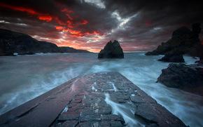 mare, tramonto, paesaggio