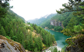 river, Mountains, trees, Rocks, landscape