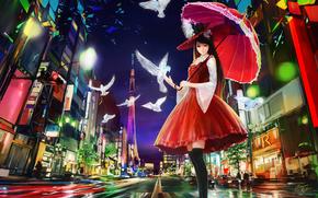 art, shitub52, girl, view, umbrella, street, city, night, magic, birds, paints