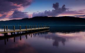 пирс, закат, озеро, лес, небо, тучи