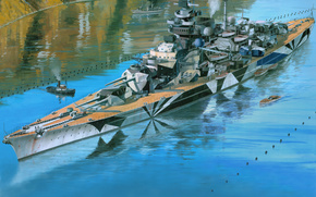 Tirpitz, Tirpitz, acorazado, acorazado, Kriegsmarine, Krigsmarine, Arte