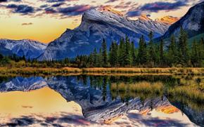 误, 反射, 弗米利恩湖, 班夫国家公园(Banff National Park), 阿尔伯塔, 加拿大