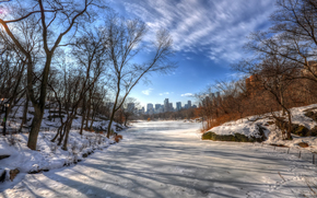 river, trees, city, winter, landscape