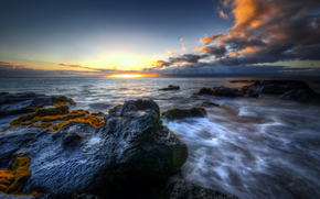 sea, sunset, Rocks, landscape