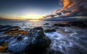 море, закат, скалы, пейзаж