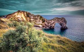 滨, 附近的汝拉, 在赛特拉尔沃思, 英国, 海, 拱, 岩石, 景观