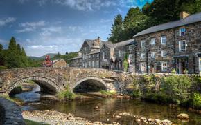 Snowdonia, Gwynedd, Wales, Stadt, Brücke