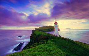 Iceland, Faroese archipelago, Faroe Islands, Michines, island, ocean, lighthouse, Day, summer, August, sky, clouds, exposure