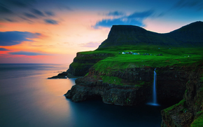 The Kingdom of Denmark, Faroe Islands, Vága, Gasadalur, Atlantic Ocean, Rocks, on the edge, hamlet, Mountains, waterfall, sunset, evening, sky, clouds