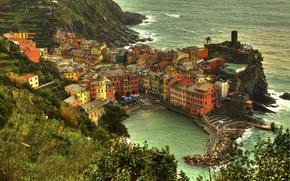 马纳罗拉, 五渔村, 意大利, PROVINCIA德拉拉斯佩齐亚, 马纳罗拉, 五渔村, 意大利, 香料, 城市, 家, 建筑, 树, 利古里亚海的, 岸, 滨, 水