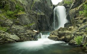 瀑布, 池塘, 岩石, 景观