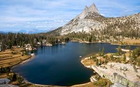 山, 湖, 树, 景观