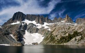 山, 湖, 天空, 景观