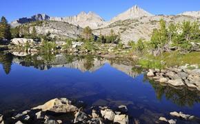 山, 湖, 石头, 景观
