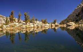 湖, 岩石, 山, 树, 景观