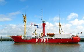 ship, lighthouse, Elbe 1