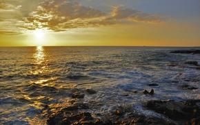 日落, 海, 岩石, 景观