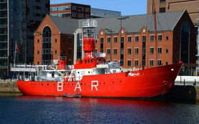 MERSEY BAR, lighthouse ship, Canning dock, Liverpool, england, GB