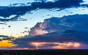 sky, CLOUDS, lightning, landscape