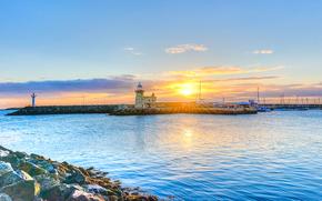 Porto di Howth, Dublino, Irlanda, faro, tramonto