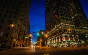 Detroit, città, notte, luci