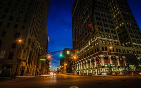 Detroit, ciudad, noche, luces