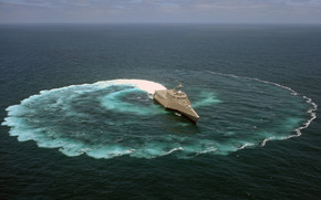 USS Independence, littoral combat ship, demonstrates its maneuvering capabilities, demonstration, maneuverability