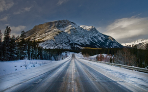road, Mountains, forest, winter, landscape
