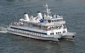 ship, catamaran, water, opal