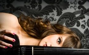violin, electric violin, black, PATTERNS, girl, eye, view, Music, Violinist, musician, violin group dolls
