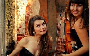 violin group dolls, violinist, Music, musicians, violin, autumn, Girls, Brunette, view