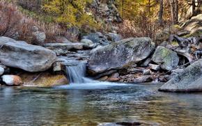 лес, водопад, камни, пейзаж