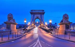 Budapest, Hungary, Szechenyi Chain Bridge, city, evening, river, Danube, Sculpture, Lions, road, lighting, lights