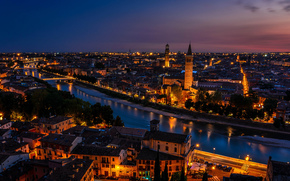 Italy, Verona, sunset, twilight, lights