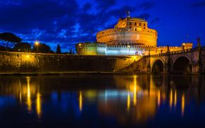 Italia, Roma, Castel Sant'Angelo, notte, luci