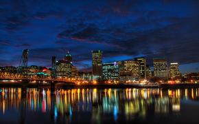 USA, City, Portland, Oregon, houses, night, США, побережье, ночь, дома, мост.
