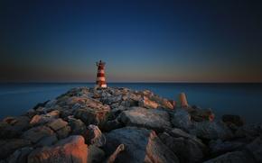 Португалия, Vilamoura, Faro, камни, маяк, море