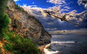 Top Fun, берег, скалы, самолеты, бреющий полет, HDR