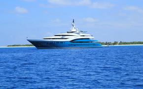 yacht, see, beach, Maldives