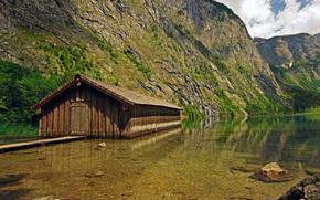 Montagne, lago, cabina, paesaggio