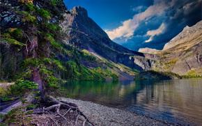 グレーシャー国立公園, 湖, 山脈, 木, 風景