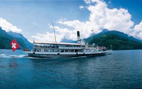 Buque de vapor, Uri, Lago de Lucerna, Suiza, panorama