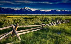 Montagne, campo, steccato, paesaggio