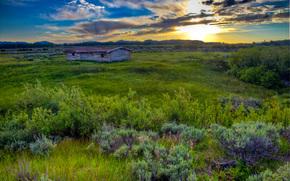 tramonto, campo, cabina, paesaggio