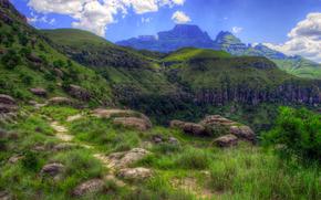 Drakensberg, Sud Africa, paesaggio, HDR