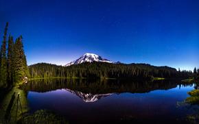 Mount Rainier, reflection, Lake, Paradise, Washington, USA