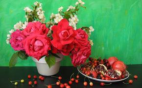 цветы, черешня, гранат, натюрморт
